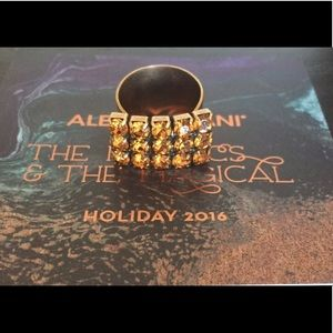NWT Alex and Ani Golden Days Glam Ring Topaz